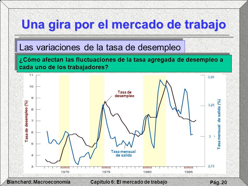 Capítulo 6: El mercado de trabajoBlanchard: Macroeconomía Pág. 20 Una gira por el mercado de trabajo Las variaciones de la tasa de desempleo ¿Cómo afe