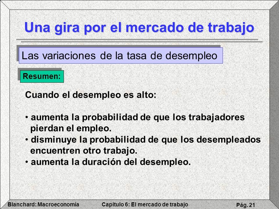 Capítulo 6: El mercado de trabajoBlanchard: Macroeconomía Pág. 21 Una gira por el mercado de trabajo Las variaciones de la tasa de desempleo Resumen: