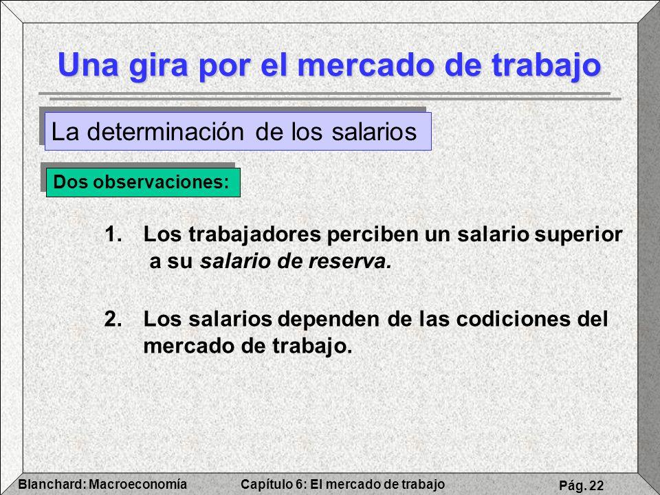 Capítulo 6: El mercado de trabajoBlanchard: Macroeconomía Pág. 22 Una gira por el mercado de trabajo La determinación de los salarios Dos observacione