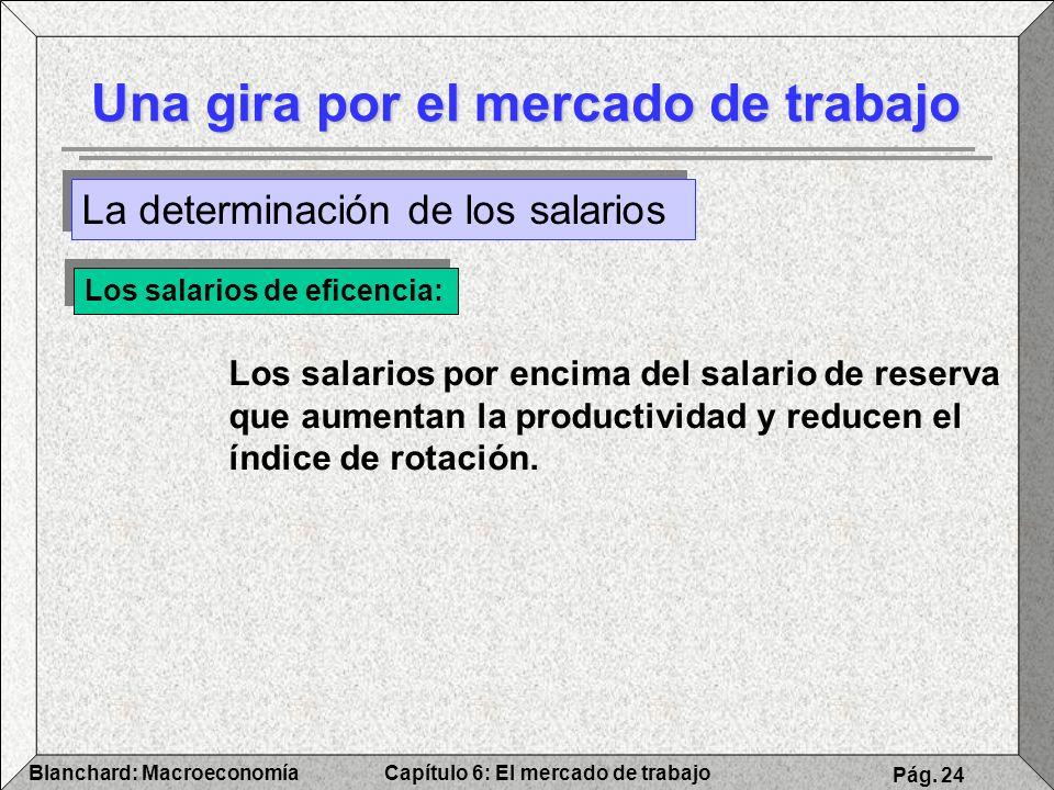 Capítulo 6: El mercado de trabajoBlanchard: Macroeconomía Pág. 24 Una gira por el mercado de trabajo Los salarios de eficencia: Los salarios por encim