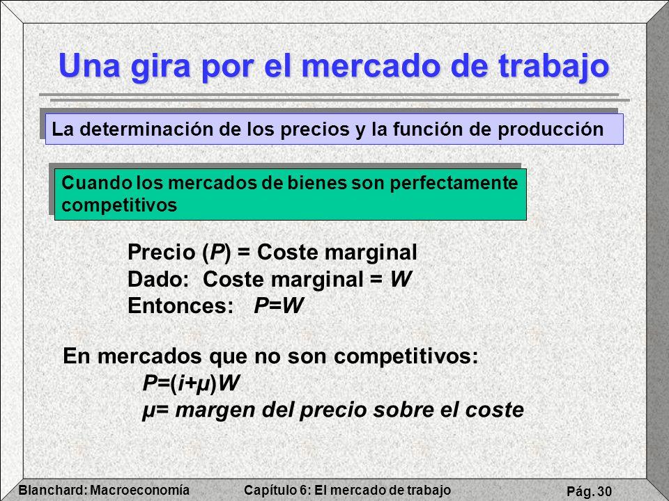 Capítulo 6: El mercado de trabajoBlanchard: Macroeconomía Pág. 30 Una gira por el mercado de trabajo La determinación de los precios y la función de p