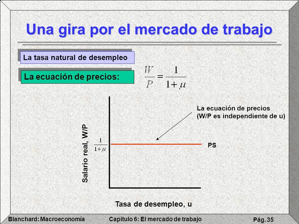 Capítulo 6: El mercado de trabajoBlanchard: Macroeconomía Pág. 35 Una gira por el mercado de trabajo La tasa natural de desempleo La ecuación de preci