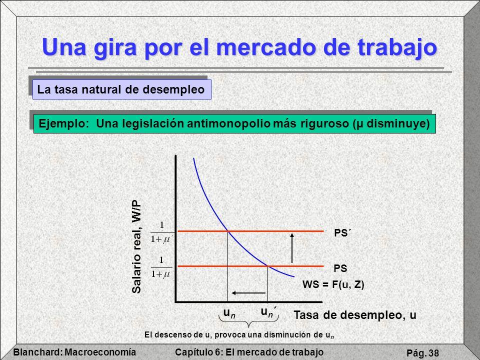 Capítulo 6: El mercado de trabajoBlanchard: Macroeconomía Pág. 38 Una gira por el mercado de trabajo La tasa natural de desempleo Ejemplo: Una legisla