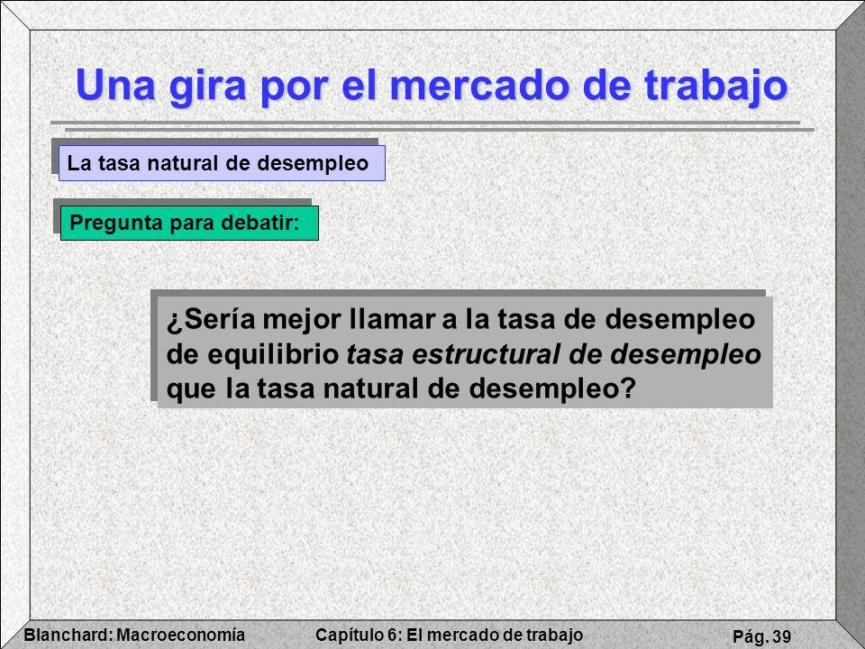 Capítulo 6: El mercado de trabajoBlanchard: Macroeconomía Pág. 39 Una gira por el mercado de trabajo La tasa natural de desempleo Pregunta para debati