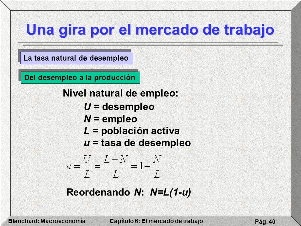 Capítulo 6: El mercado de trabajoBlanchard: Macroeconomía Pág. 40 Una gira por el mercado de trabajo La tasa natural de desempleo Del desempleo a la p