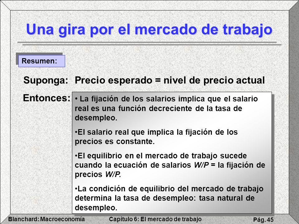 Capítulo 6: El mercado de trabajoBlanchard: Macroeconomía Pág. 45 Una gira por el mercado de trabajo Resumen: Suponga: Precio esperado = nivel de prec