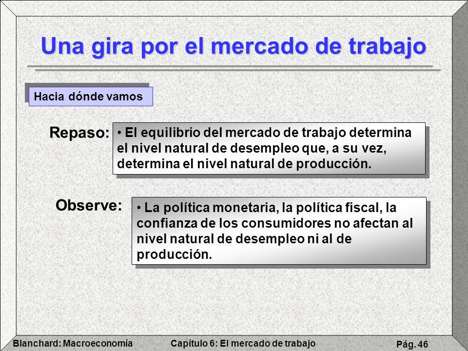 Capítulo 6: El mercado de trabajoBlanchard: Macroeconomía Pág. 46 Una gira por el mercado de trabajo Hacia dónde vamos Repaso: El equilibrio del merca