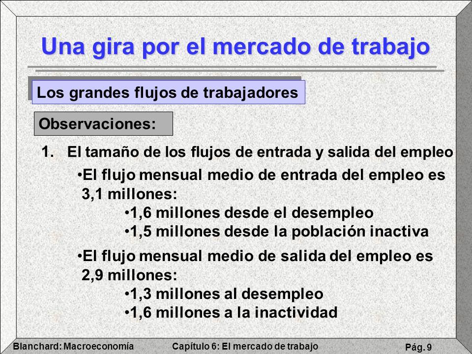 Capítulo 6: El mercado de trabajoBlanchard: Macroeconomía Pág. 9 Una gira por el mercado de trabajo Los grandes flujos de trabajadores Observaciones: