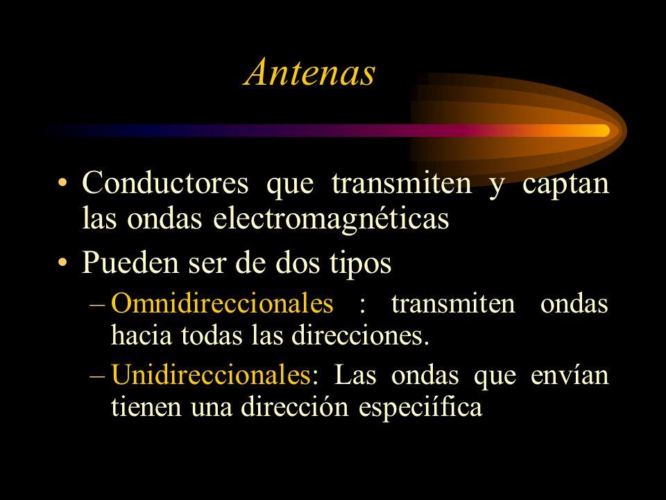 Antenas Conductores que transmiten y captan las ondas electromagnéticas Pueden ser de dos tipos –Omnidireccionales : transmiten ondas hacia todas las direcciones.