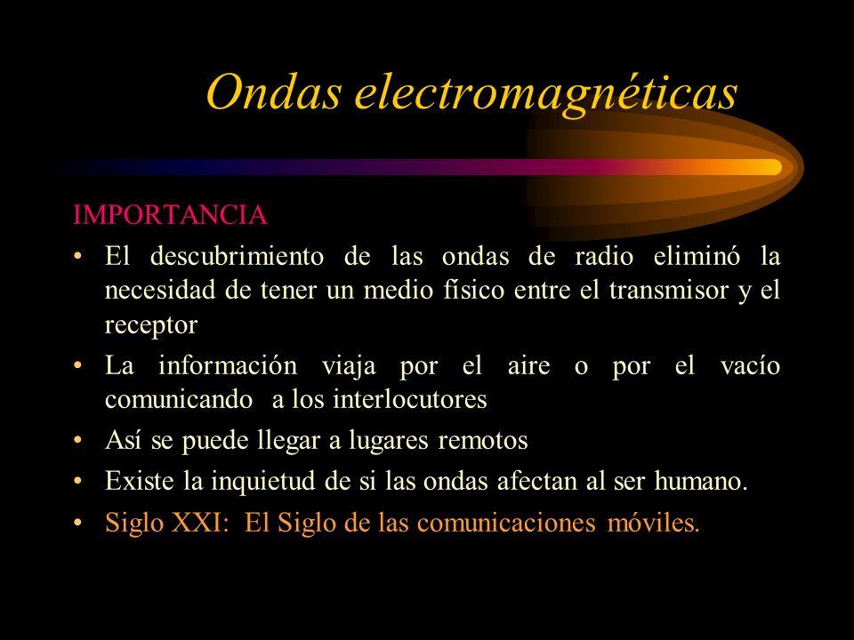 Ondas electromagnéticas IMPORTANCIA El descubrimiento de las ondas de radio eliminó la necesidad de tener un medio físico entre el transmisor y el receptor La información viaja por el aire o por el vacío comunicando a los interlocutores Así se puede llegar a lugares remotos Existe la inquietud de si las ondas afectan al ser humano.