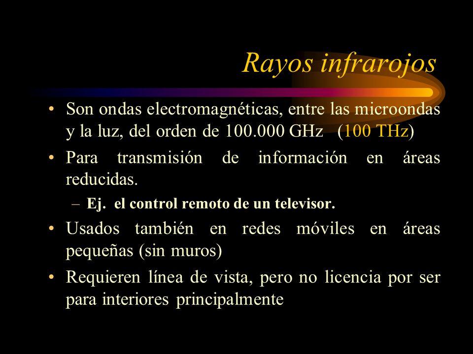 Rayos infrarojos Son ondas electromagnéticas, entre las microondas y la luz, del orden de 100.000 GHz (100 THz) Para transmisión de información en áreas reducidas.