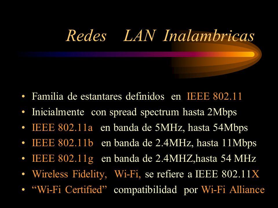 Redes LAN Inalambricas Familia de estantares definidos en IEEE 802.11 Inicialmente con spread spectrum hasta 2Mbps IEEE 802.11a en banda de 5MHz, hasta 54Mbps IEEE 802.11b en banda de 2.4MHz, hasta 11Mbps IEEE 802.11g en banda de 2.4MHZ,hasta 54 MHz Wireless Fidelity, Wi-Fi, se refiere a IEEE 802.11X Wi-Fi Certified compatibilidad por Wi-Fi Alliance