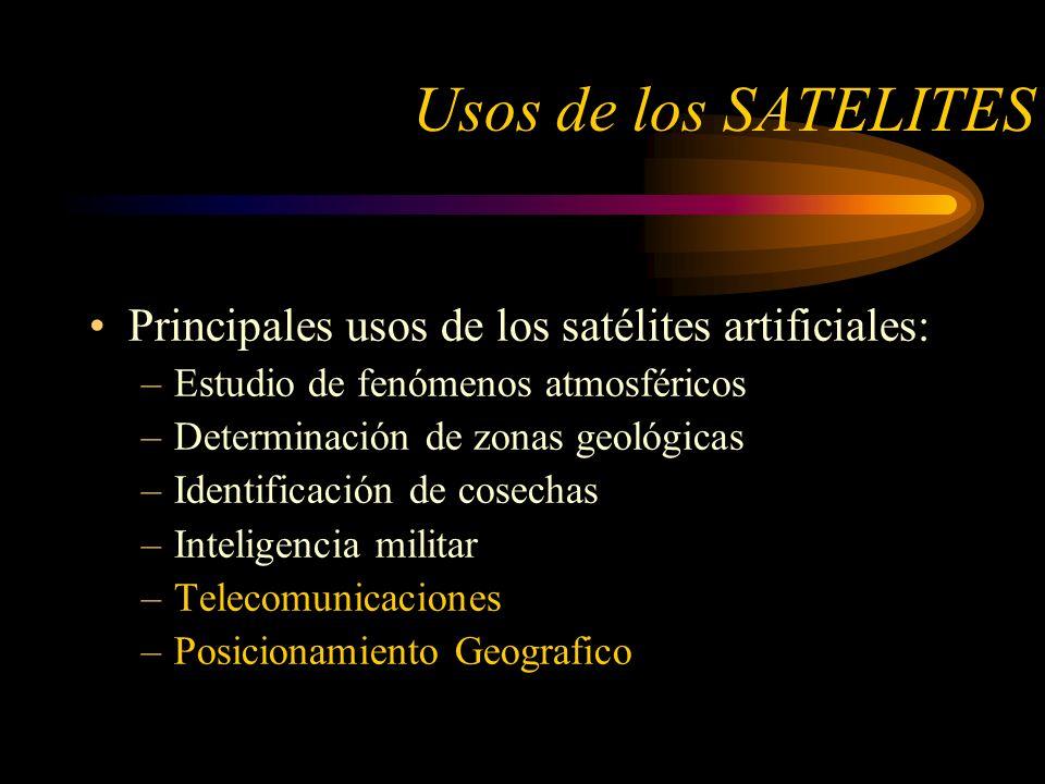 Usos de los SATELITES Principales usos de los satélites artificiales: –Estudio de fenómenos atmosféricos –Determinación de zonas geológicas –Identificación de cosechas –Inteligencia militar –Telecomunicaciones –Posicionamiento Geografico