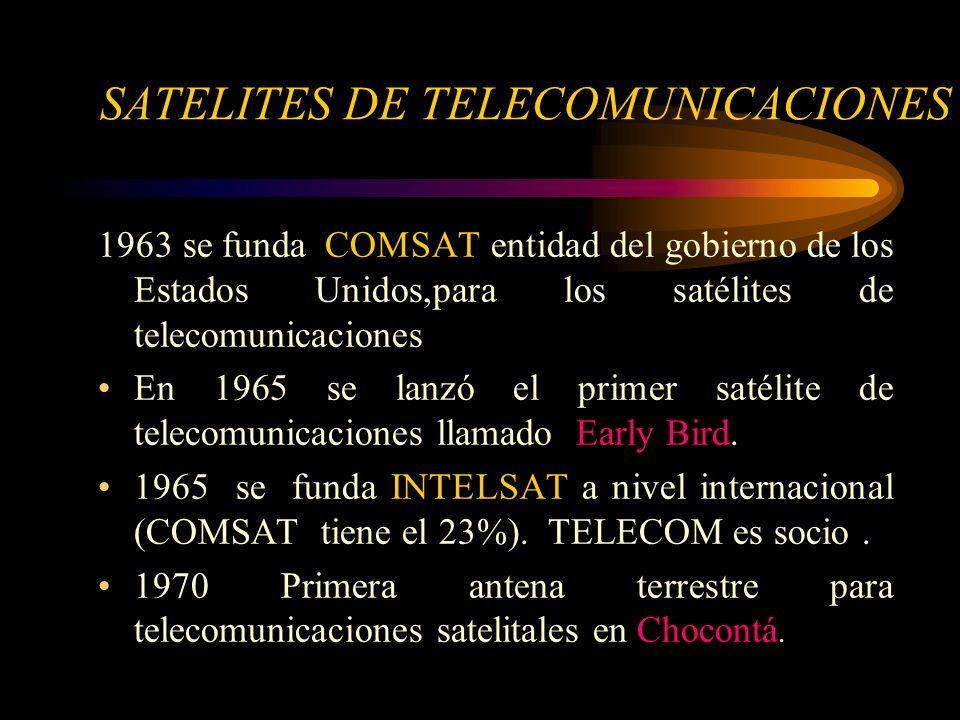1963 se funda COMSAT entidad del gobierno de los Estados Unidos,para los satélites de telecomunicaciones En 1965 se lanzó el primer satélite de telecomunicaciones llamado Early Bird.