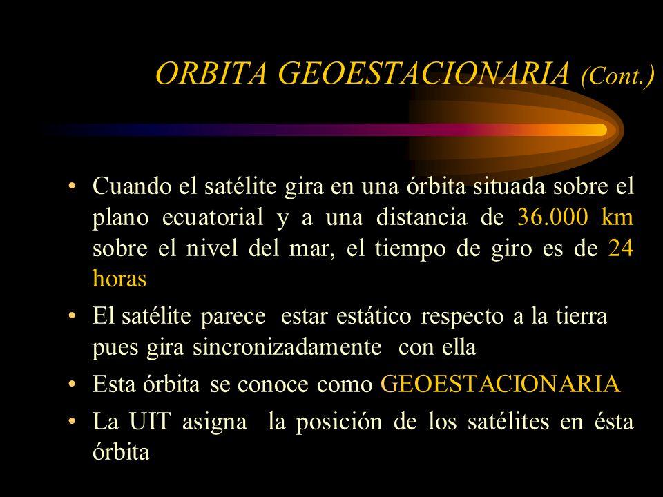 ORBITA GEOESTACIONARIA (Cont.) Cuando el satélite gira en una órbita situada sobre el plano ecuatorial y a una distancia de 36.000 km sobre el nivel del mar, el tiempo de giro es de 24 horas El satélite parece estar estático respecto a la tierra pues gira sincronizadamente con ella Esta órbita se conoce como GEOESTACIONARIA La UIT asigna la posición de los satélites en ésta órbita