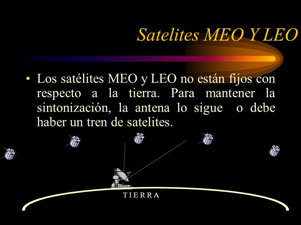 Satelites MEO Y LEO Los satélites MEO y LEO no están fijos con respecto a la tierra.