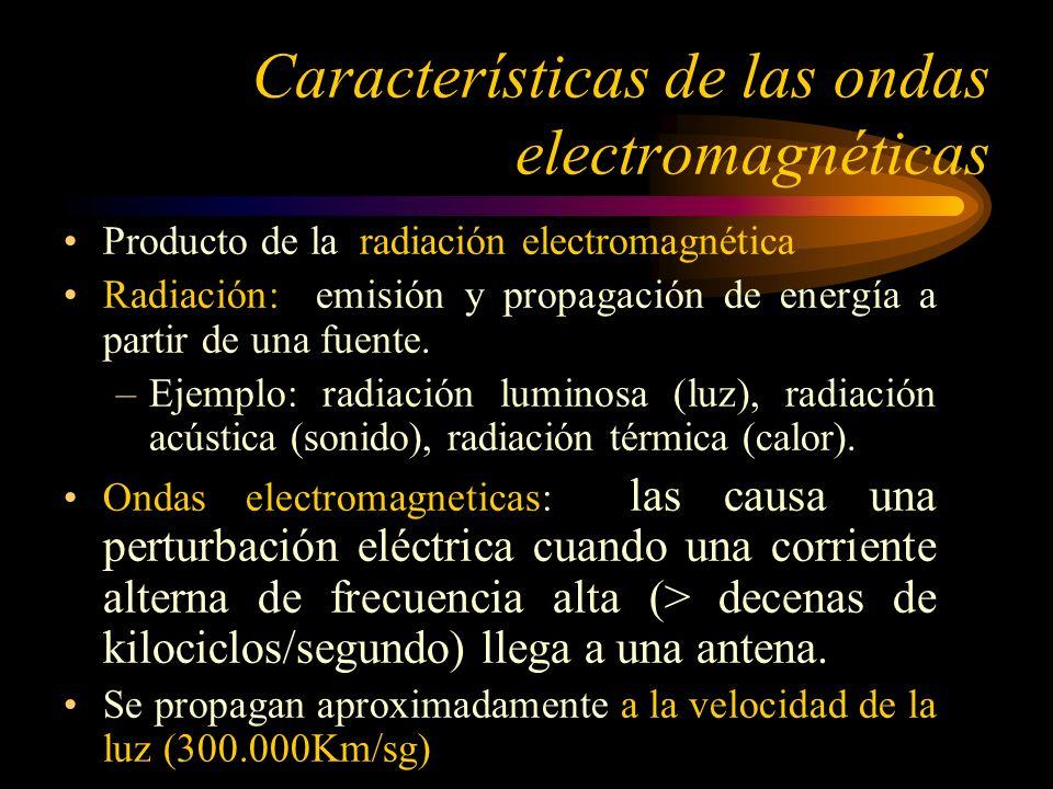 Si la velocidad de la onda electromagnética es de 300.000 km./seg., entonces: La longitud de onda en Kms : = 300.000 / f f es la frecuencia en ciclos/seg.