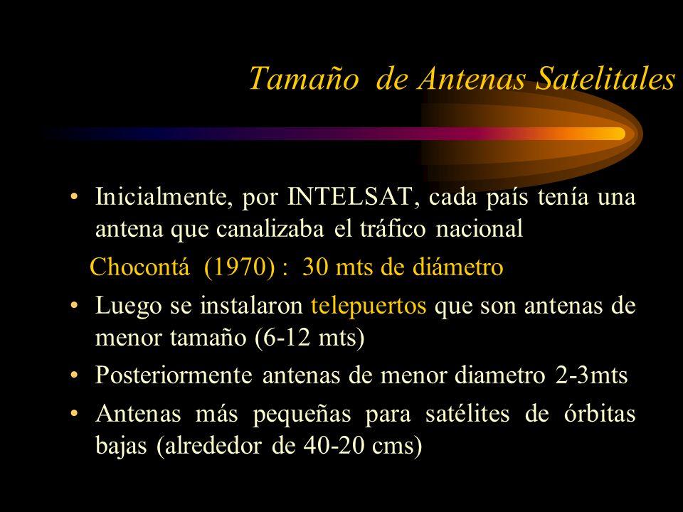 Inicialmente, por INTELSAT, cada país tenía una antena que canalizaba el tráfico nacional Chocontá (1970) : 30 mts de diámetro Luego se instalaron telepuertos que son antenas de menor tamaño (6-12 mts) Posteriormente antenas de menor diametro 2-3mts Antenas más pequeñas para satélites de órbitas bajas (alrededor de 40-20 cms) Tamaño de Antenas Satelitales