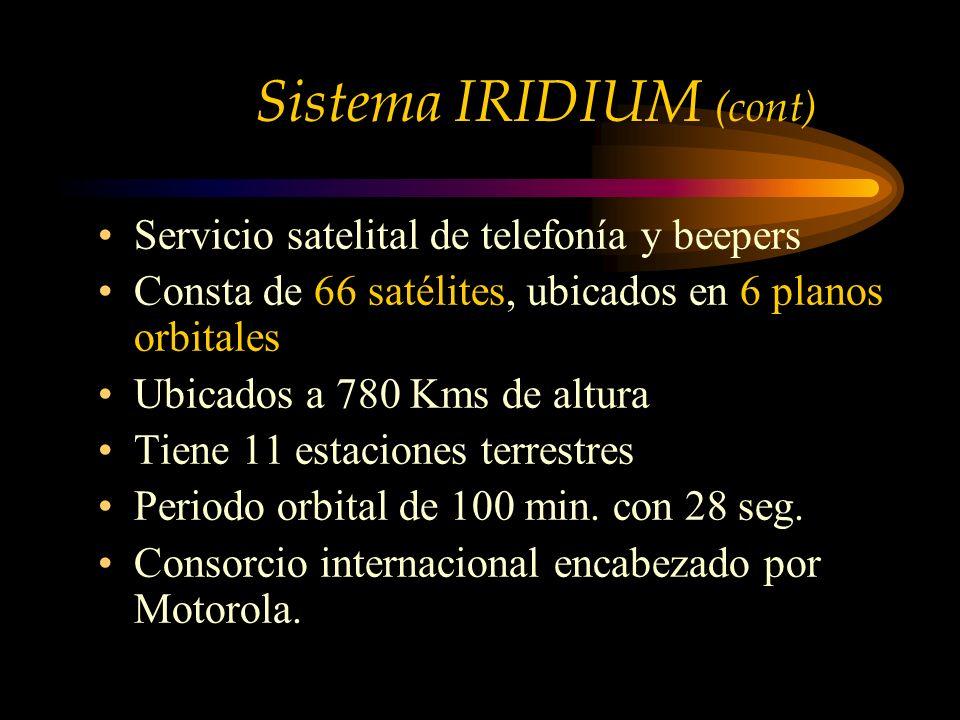 Servicio satelital de telefonía y beepers Consta de 66 satélites, ubicados en 6 planos orbitales Ubicados a 780 Kms de altura Tiene 11 estaciones terrestres Periodo orbital de 100 min.