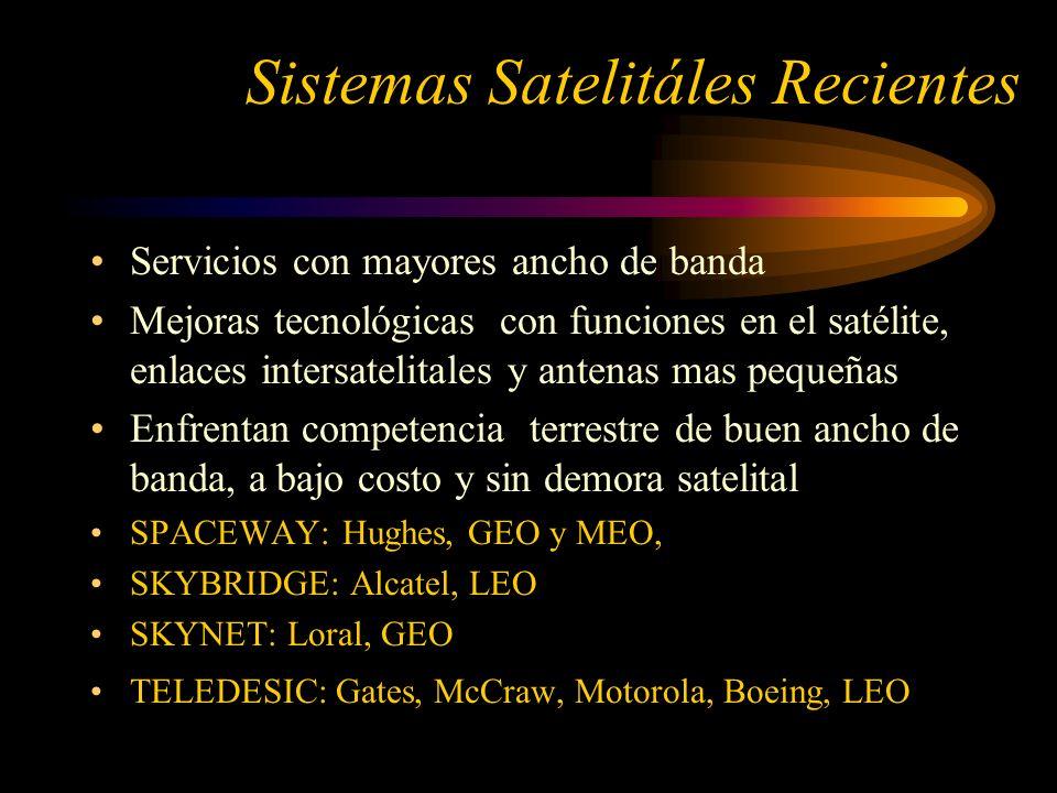 Sistemas Satelitáles Recientes Servicios con mayores ancho de banda Mejoras tecnológicas con funciones en el satélite, enlaces intersatelitales y antenas mas pequeñas Enfrentan competencia terrestre de buen ancho de banda, a bajo costo y sin demora satelital SPACEWAY: Hughes, GEO y MEO, SKYBRIDGE: Alcatel, LEO SKYNET: Loral, GEO TELEDESIC: Gates, McCraw, Motorola, Boeing, LEO