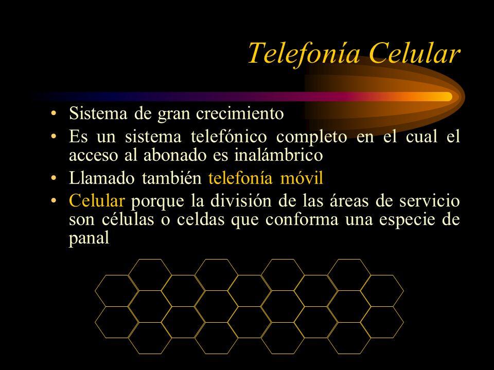 Telefonía Celular Sistema de gran crecimiento Es un sistema telefónico completo en el cual el acceso al abonado es inalámbrico Llamado también telefonía móvil Celular porque la división de las áreas de servicio son células o celdas que conforma una especie de panal