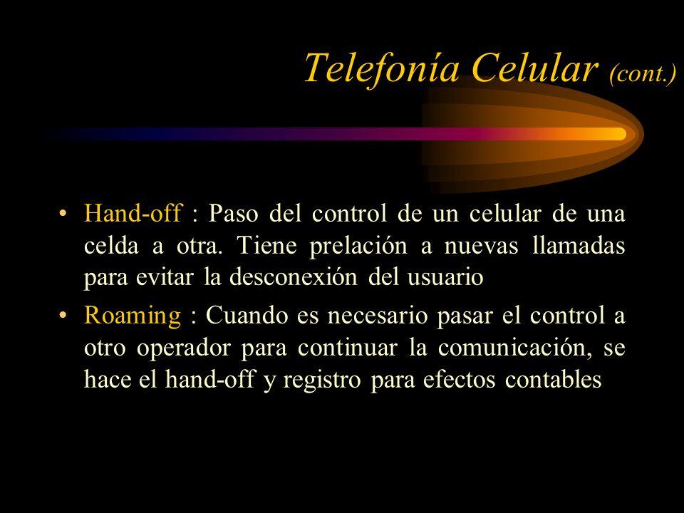 Hand-off : Paso del control de un celular de una celda a otra.