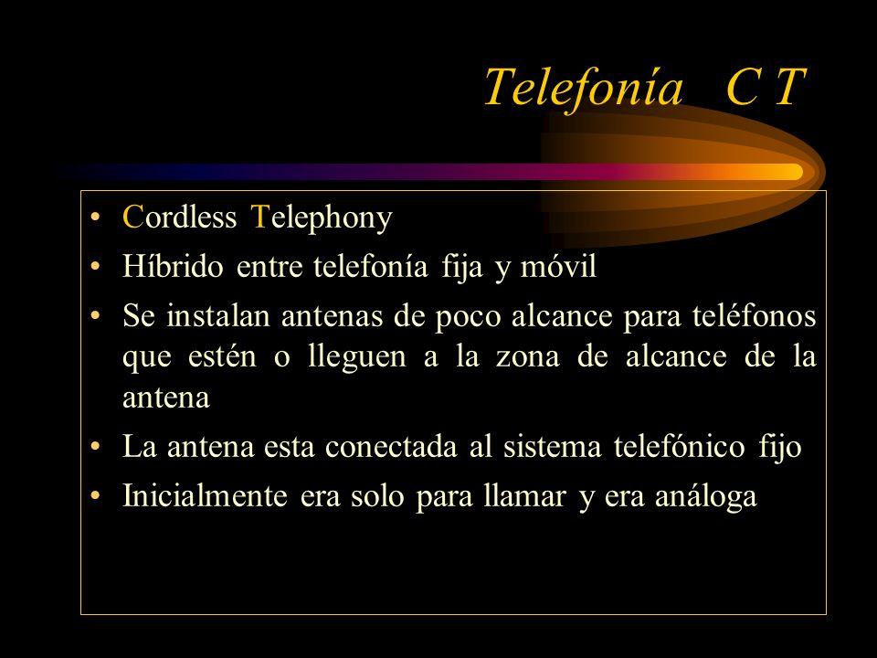 Telefonía C T Cordless Telephony Híbrido entre telefonía fija y móvil Se instalan antenas de poco alcance para teléfonos que estén o lleguen a la zona de alcance de la antena La antena esta conectada al sistema telefónico fijo Inicialmente era solo para llamar y era análoga