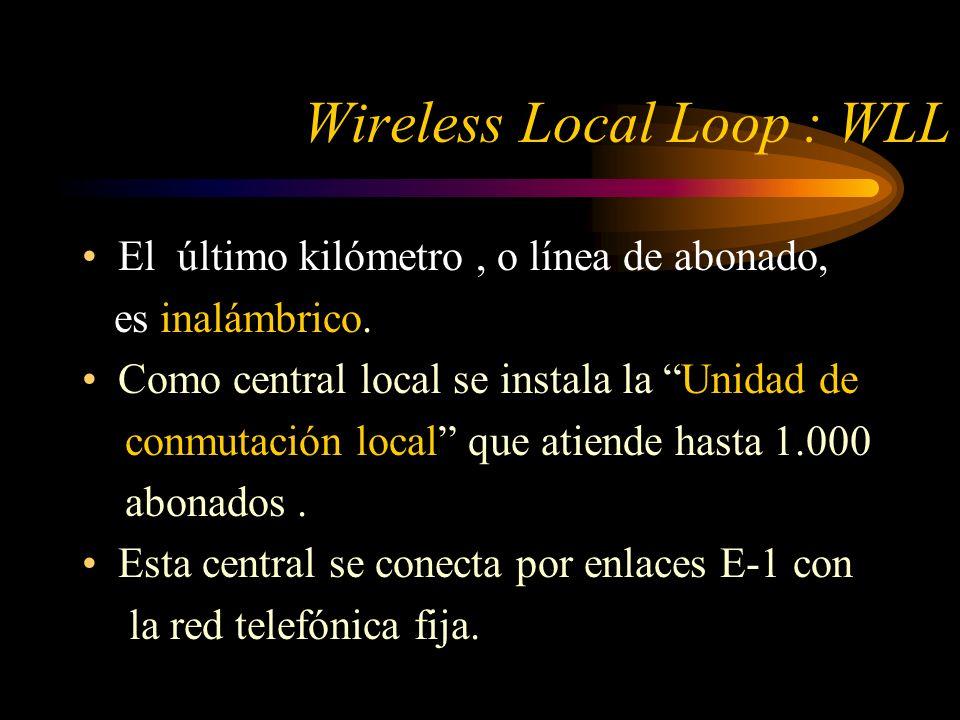 Wireless Local Loop : WLL El último kilómetro, o línea de abonado, es inalámbrico.
