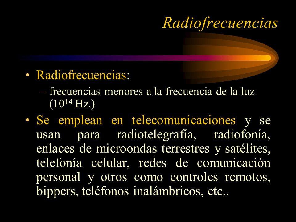 Radiofrecuencias: –frecuencias menores a la frecuencia de la luz (10 14 Hz.) Se emplean en telecomunicaciones y se usan para radiotelegrafía, radiofonía, enlaces de microondas terrestres y satélites, telefonía celular, redes de comunicación personal y otros como controles remotos, bippers, teléfonos inalámbricos, etc..