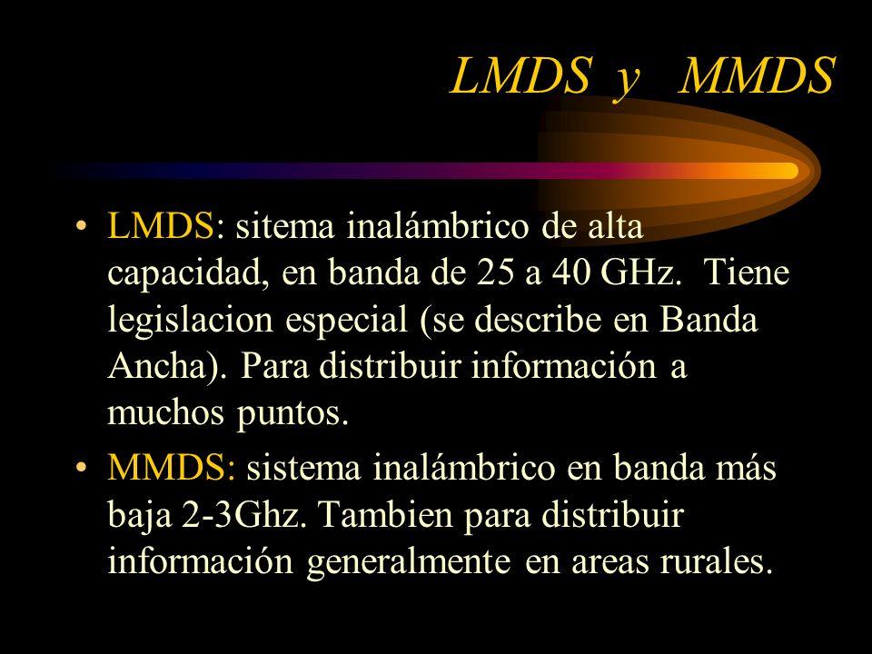LMDS y MMDS LMDS: sitema inalámbrico de alta capacidad, en banda de 25 a 40 GHz.