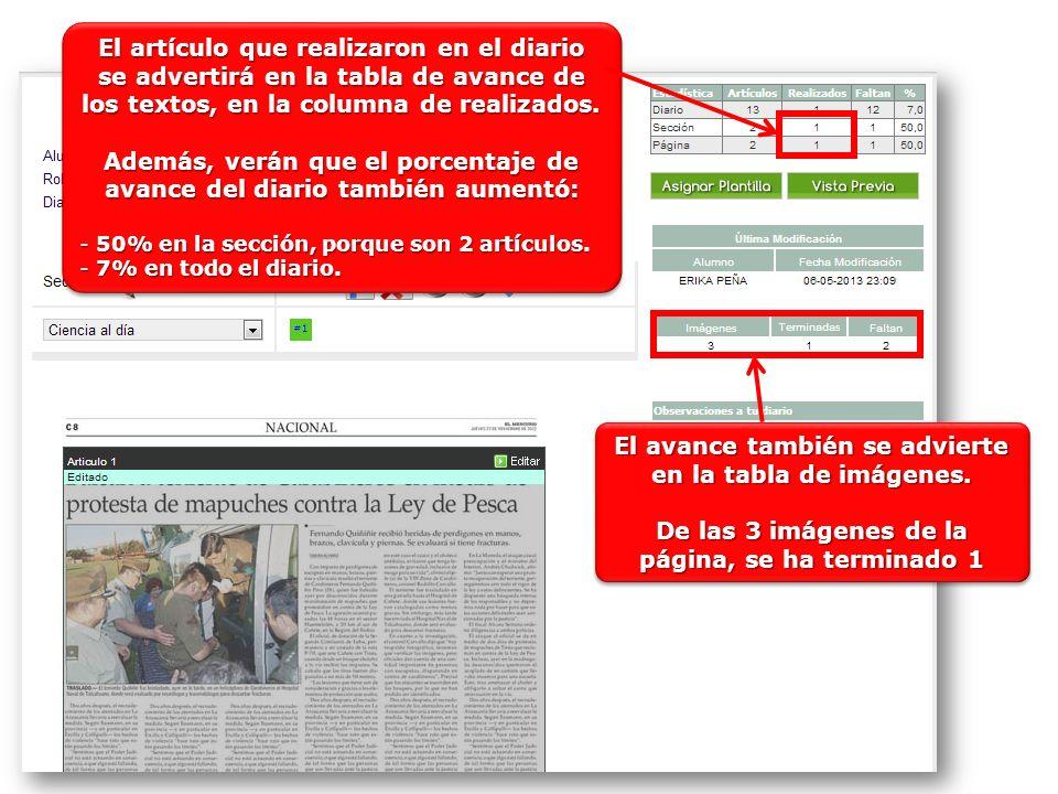 El artículo que realizaron en el diario se advertirá en la tabla de avance de los textos, en la columna de realizados. Además, verán que el porcentaje
