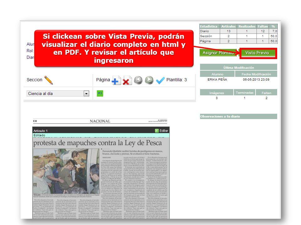 Si clickean sobre Vista Previa, podrán visualizar el diario completo en html y en PDF. Y revisar el artículo que ingresaron