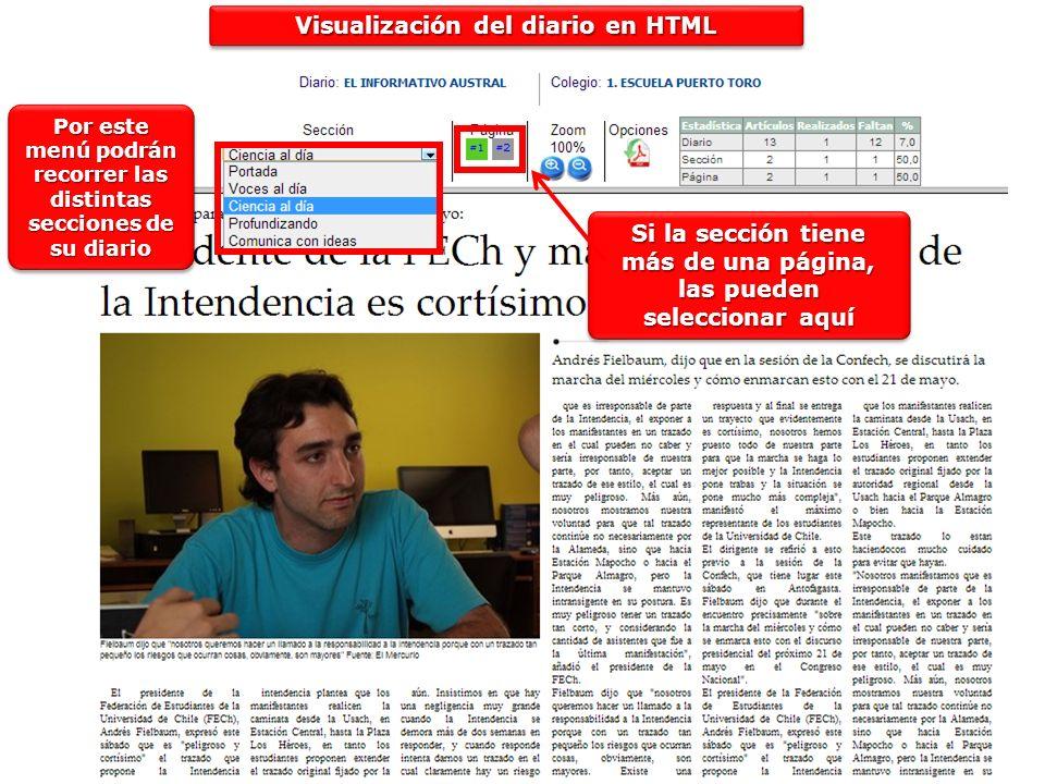 Visualización del diario en HTML Por este menú podrán recorrer las distintas secciones de su diario Si la sección tiene más de una página, las pueden
