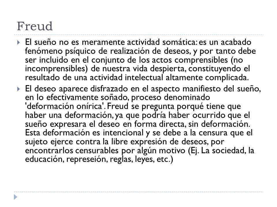 Freud El sueño no es meramente actividad somática: es un acabado fenómeno psíquico de realización de deseos, y por tanto debe ser incluido en el conju