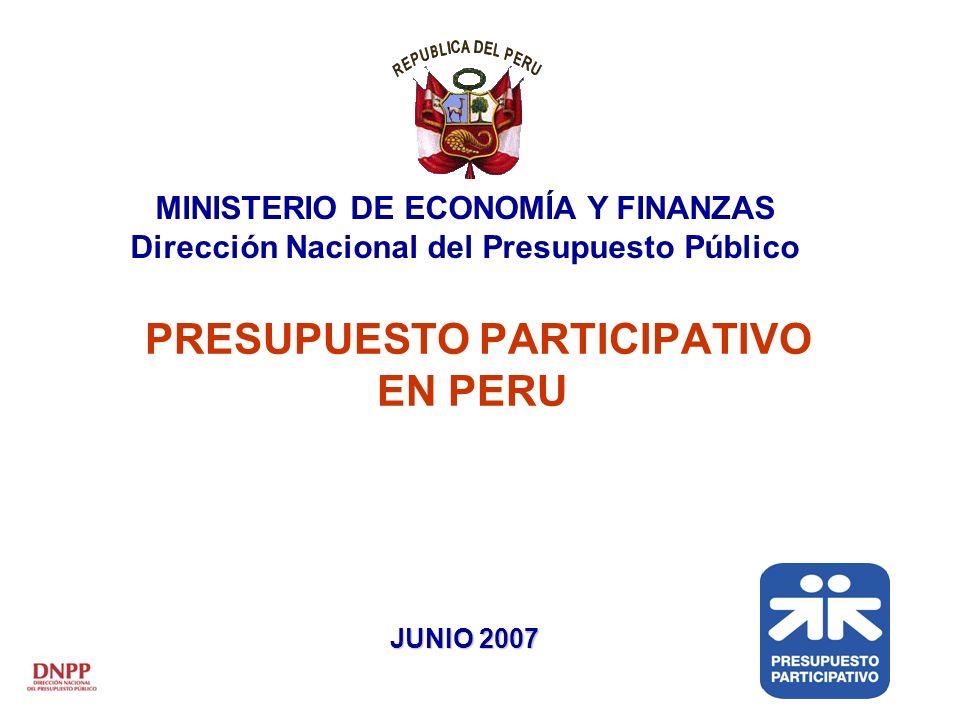 PRESUPUESTO PARTICIPATIVO EN PERU MINISTERIO DE ECONOMÍA Y FINANZAS Dirección Nacional del Presupuesto Público JUNIO 2007