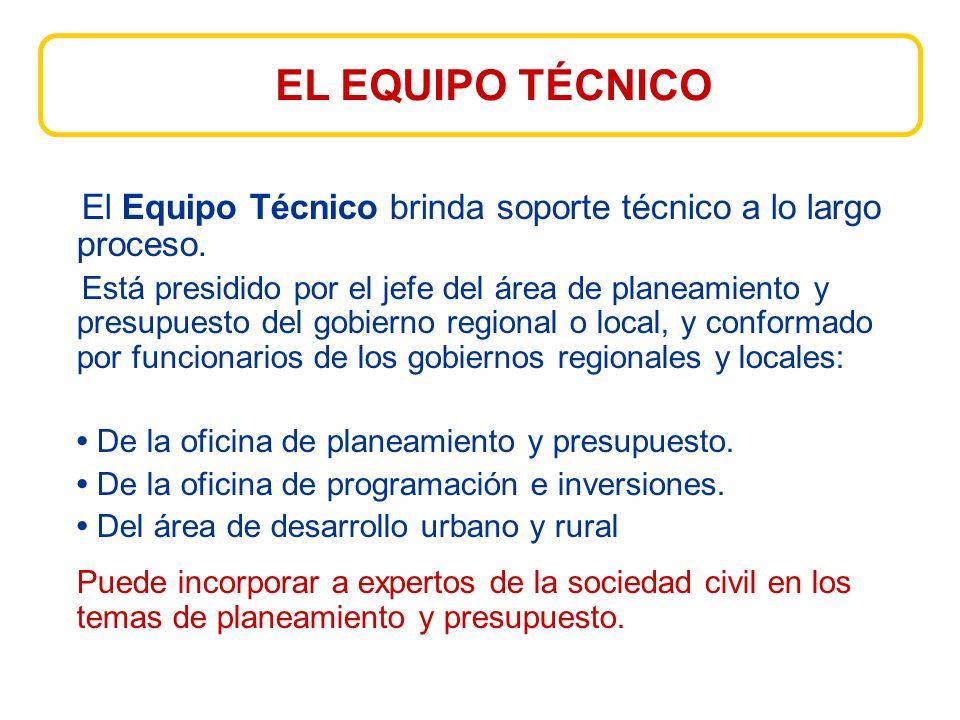 EL EQUIPO TÉCNICO El Equipo Técnico brinda soporte técnico a lo largo proceso.
