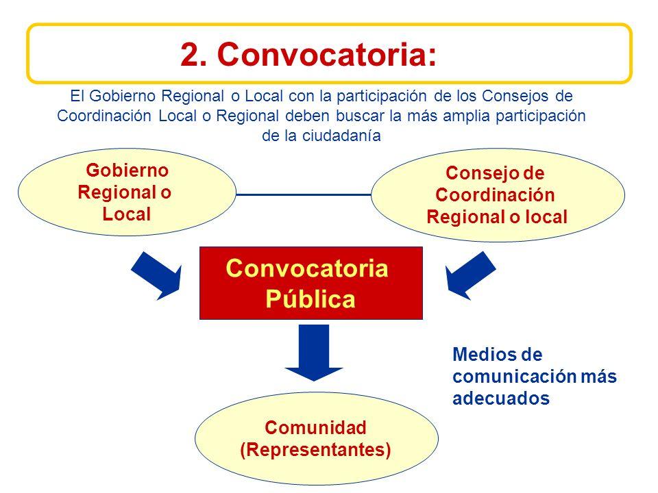 Gobierno Regional o Local Convocatoria Pública Consejo de Coordinación Regional o local Comunidad (Representantes) 2.