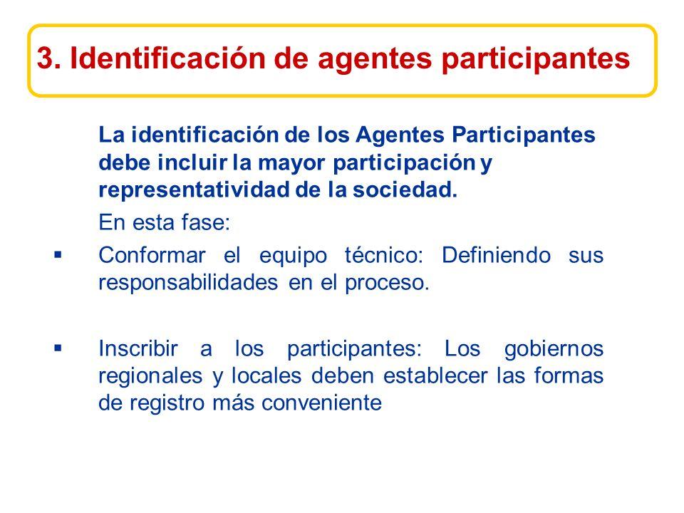 La identificación de los Agentes Participantes debe incluir la mayor participación y representatividad de la sociedad.