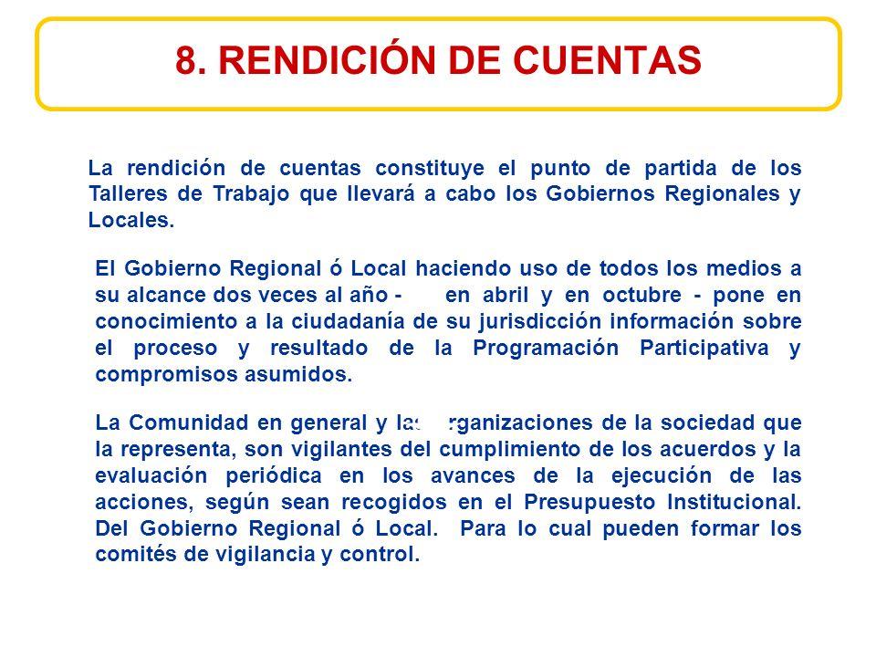 El Gobierno Regional ó Local haciendo uso de todos los medios a su alcance dos veces al año - en abril y en octubre - pone en conocimiento a la ciudadanía de su jurisdicción información sobre el proceso y resultado de la Programación Participativa y compromisos asumidos.