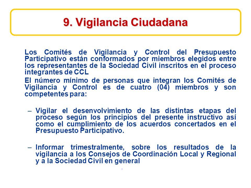 9. Vigilancia Ciudadana Los Comités de Vigilancia y Control del Presupuesto Participativo están conformados por miembros elegidos entre los representa