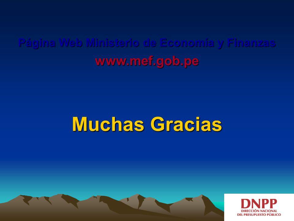 Muchas Gracias Página Web Ministerio de Economía y Finanzas www.mef.gob.pe