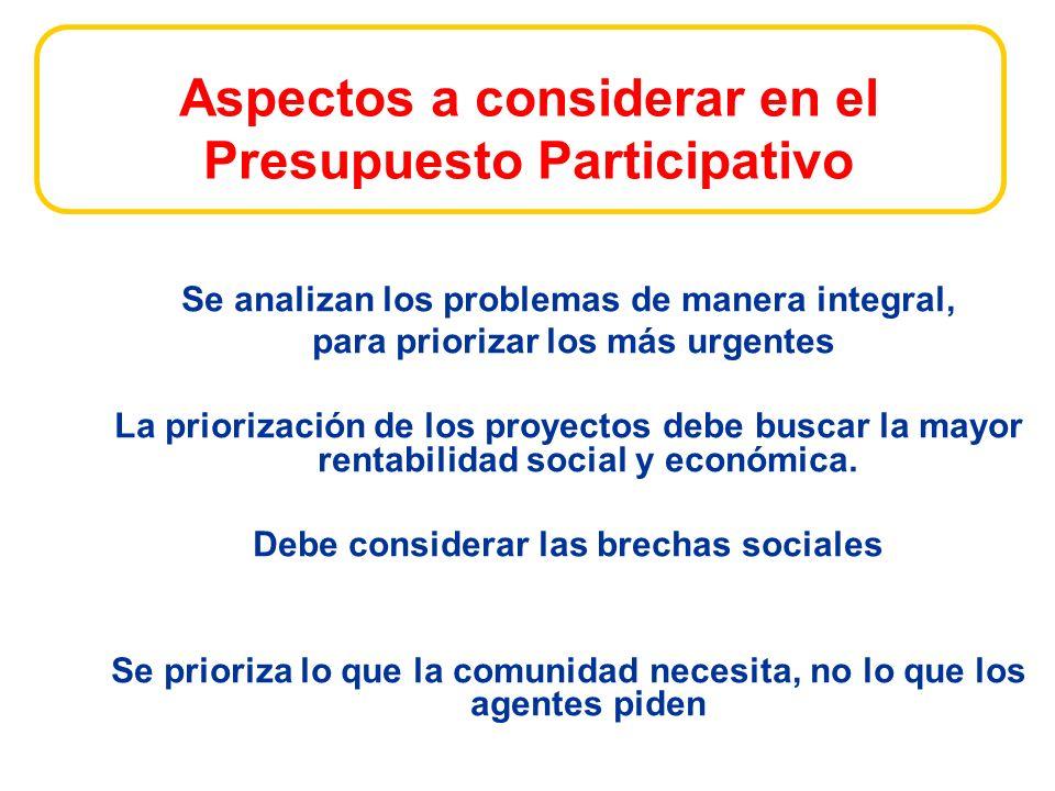 Aspectos a considerar en el Presupuesto Participativo Se analizan los problemas de manera integral, para priorizar los más urgentes La priorización de los proyectos debe buscar la mayor rentabilidad social y económica.