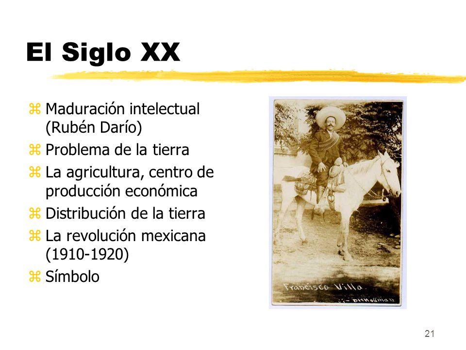 21 El Siglo XX zMaduración intelectual (Rubén Darío) zProblema de la tierra zLa agricultura, centro de producción económica zDistribución de la tierra