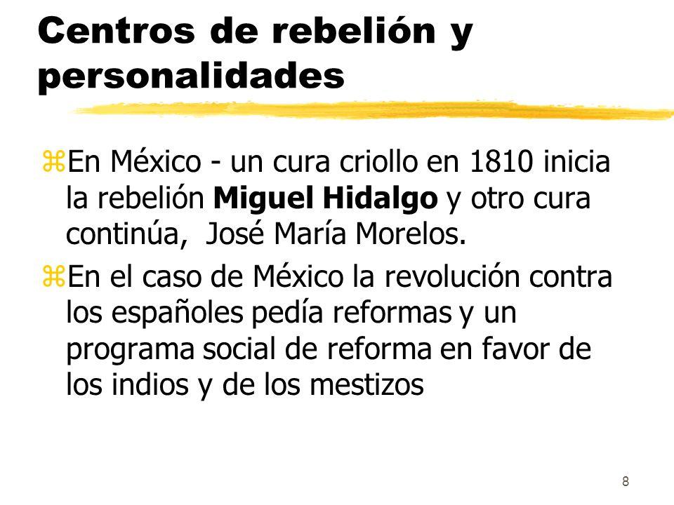 8 Centros de rebelión y personalidades zEn México - un cura criollo en 1810 inicia la rebelión Miguel Hidalgo y otro cura continúa, José María Morelos