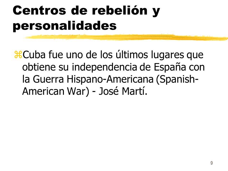 9 Centros de rebelión y personalidades zCuba fue uno de los últimos lugares que obtiene su independencia de España con la Guerra Hispano-Americana (Sp