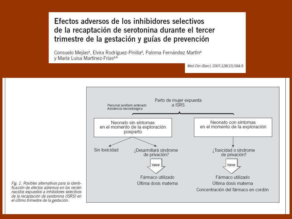 Antidepresivos IRS: Toxicidad Fetal / Neonatal 1.Toxicidad y/o Síndrome de Abstinencia: distrés respiratorio, cianosis al comer, irritabilidad, altera