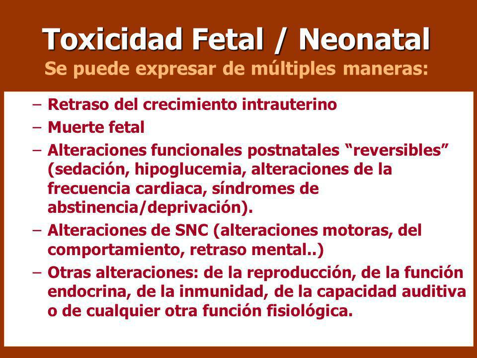 Toxicidad Fetal / Neonatal Toxicidad Fetal / Neonatal Se puede expresar de múltiples maneras: –Retraso del crecimiento intrauterino –Muerte fetal –Alteraciones funcionales postnatales reversibles (sedación, hipoglucemia, alteraciones de la frecuencia cardiaca, síndromes de abstinencia/deprivación).
