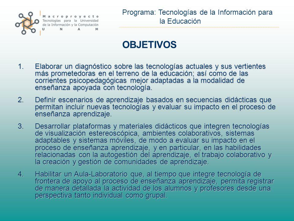 Programa: Tecnologías de la Información para la Educación OBJETIVOS 1.Elaborar un diagnóstico sobre las tecnologías actuales y sus vertientes más prometedoras en el terreno de la educación; así como de las corrientes psicopedagógicas mejor adaptadas a la modalidad de enseñanza apoyada con tecnología.