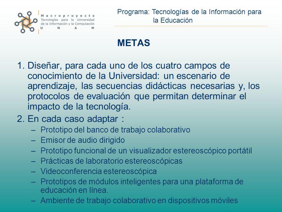 Programa: Tecnologías de la Información para la Educación METAS 1.Diseñar, para cada uno de los cuatro campos de conocimiento de la Universidad: un escenario de aprendizaje, las secuencias didácticas necesarias y, los protocolos de evaluación que permitan determinar el impacto de la tecnología.