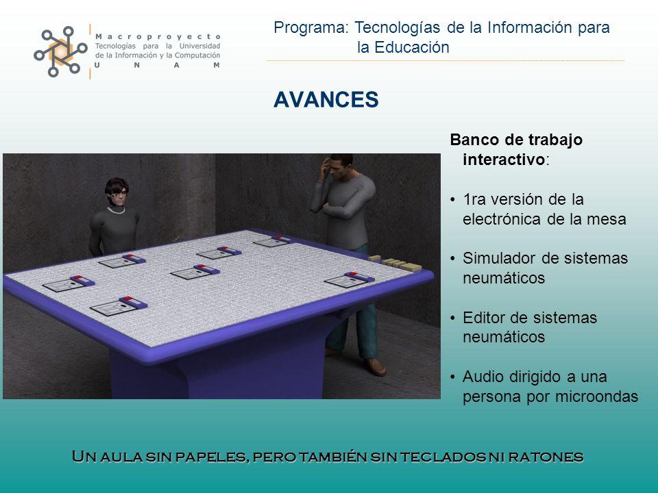 Programa: Tecnologías de la Información para la Educación AVANCES Visualización estereoscópica: Cuarto azul Sistemas de filmación y fotografía estéreo Software especializado Hardware especializado Ventana de Euclides